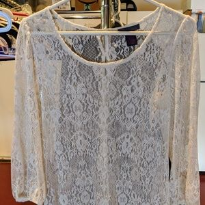 Fire Los Angeles Sheer White Lace Tunic